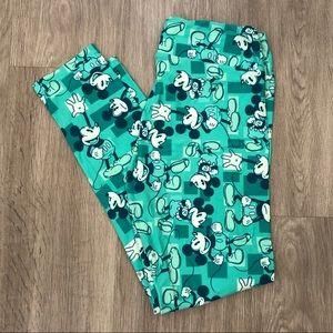 LulaRoe Green Mickey Mouse Leggings